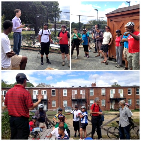 Top: Charles Allen, Chief of Staff Ward 6 Councilman's office, kicks off the tour. Bottom: Bob K. of educates riders about Rosedale / Kingman Park Garden.